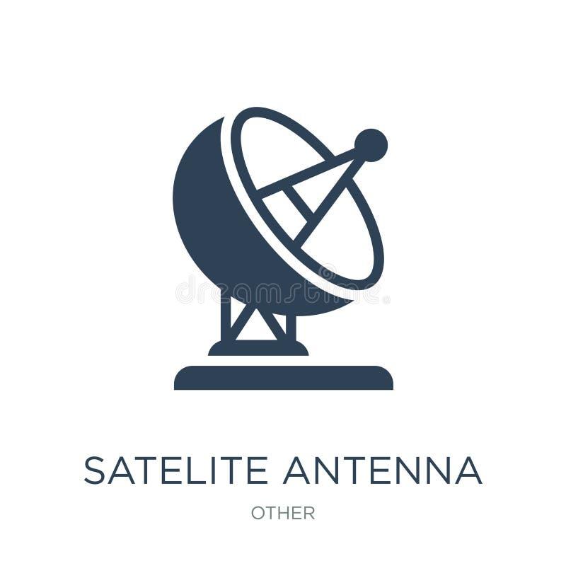 satellietantennepictogram in in ontwerpstijl satellietdieantennepictogram op witte achtergrond wordt geïsoleerd satellietantenne  vector illustratie