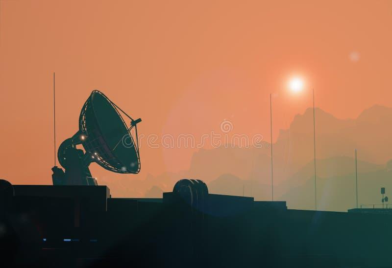 Satellietantenneschotel, ruimtebasissilhouet royalty-vrije illustratie