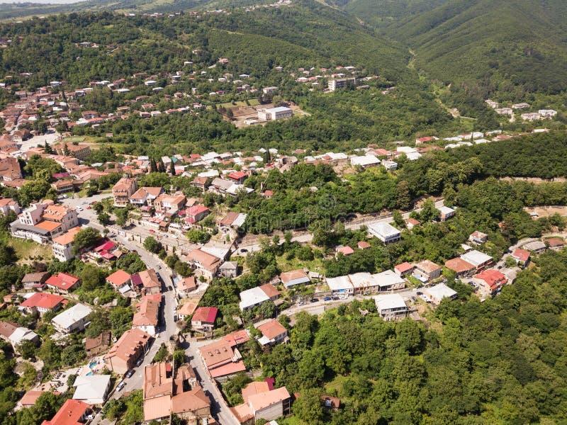 Satellietbeeld aan centrum van Sighnaghi-stad in Georgia' s gebied van Kakheti Signagi stock afbeelding