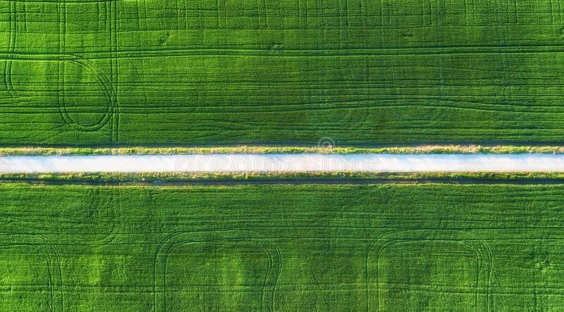 Satellietbeeld bij de weg en het gebied Landbouwlandschap van lucht Gebied en weg Landbouwbedrijf in de zomertijd Hommelfotografi stock foto