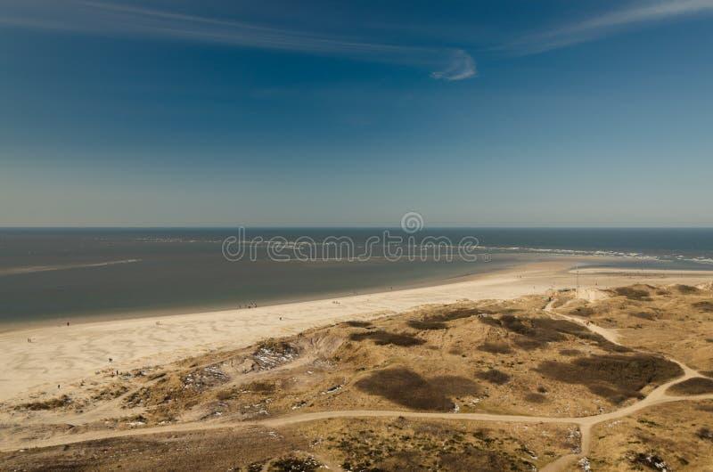 Satellietbeeld op de kust in Blavand, Denemarken royalty-vrije stock fotografie
