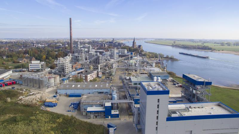 Satellietbeeld op de oleochemische stofindustrie stock fotografie