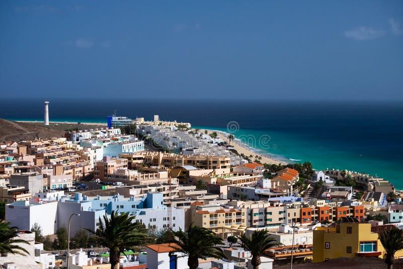 Satellietbeeld op het strand Morro Jable, Fuerteventura stock fotografie