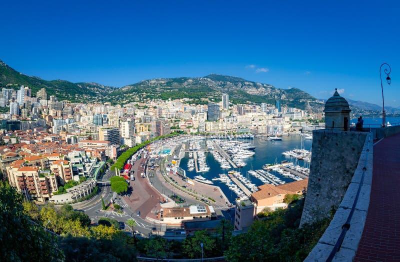 Satellietbeeld over de stad van Monaco, Frankrijk stock afbeelding