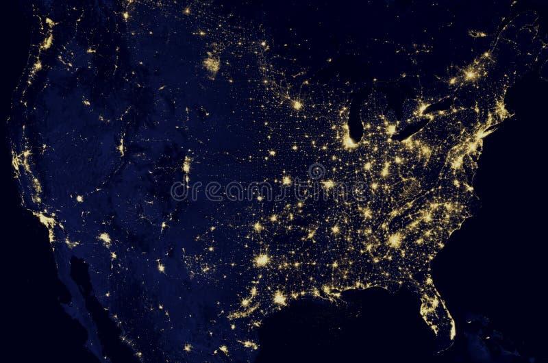 Satellietbeeld van aarde Noord-Amerika bij nacht, satellietkaart stock foto's