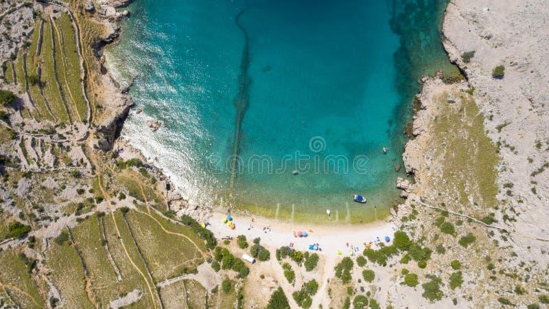 Satellietbeeld van baai in Kroatië stock afbeelding