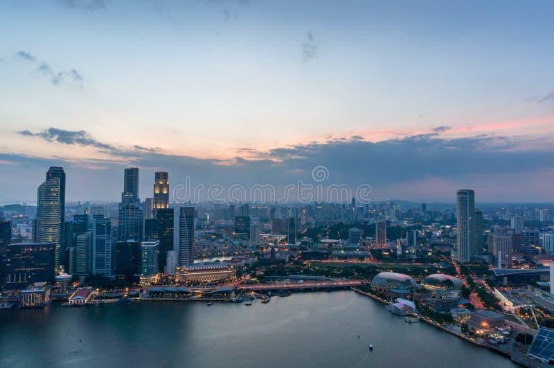 Satellietbeeld van van Bedrijfs Singapore Centraal District met bureaugebouwen stock afbeeldingen