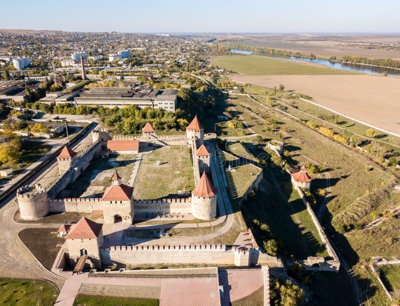 Satellietbeeld van Bendery-Buigmachine; De vesting van de Tighinaottomane, de Niet erkende Moldavische Republiek Transnistria van royalty-vrije stock foto