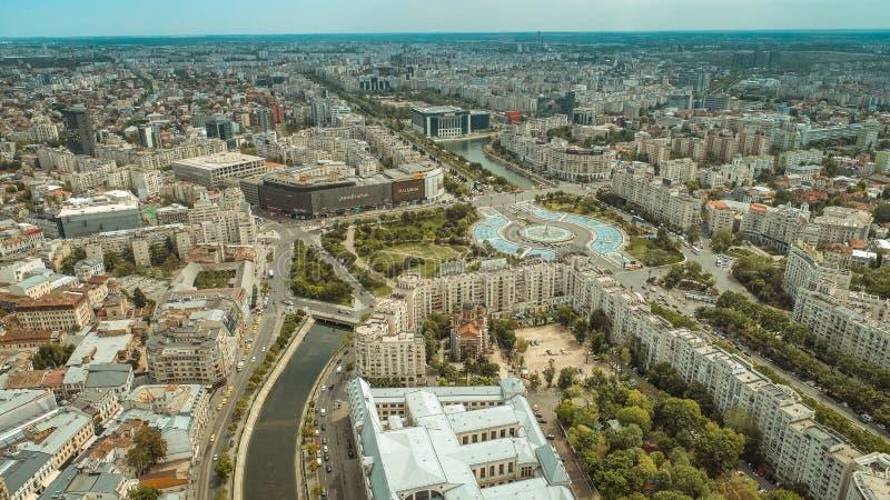 Satellietbeeld van Boekarest de stad in royalty-vrije stock fotografie