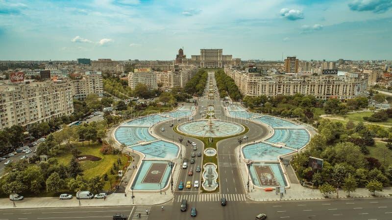 Satellietbeeld van Boekarest de stad in royalty-vrije stock foto's