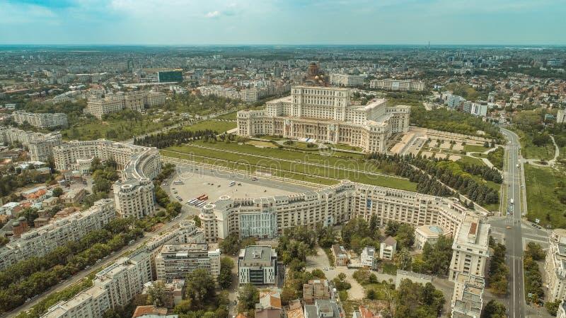 Satellietbeeld van Boekarest de stad in stock fotografie
