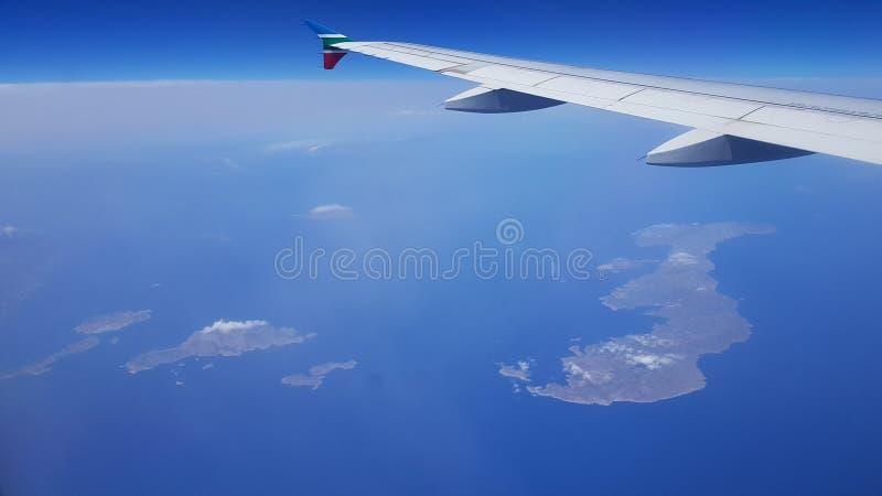Satellietbeeld van de Eilanden Griekenland, Amorgos, de Eilanden van Cycladen Griekenland stock foto's