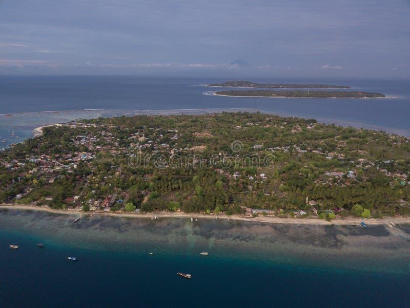 Satellietbeeld van de eilanden, de Lucht, Meno en Trawangan van Gili stock fotografie