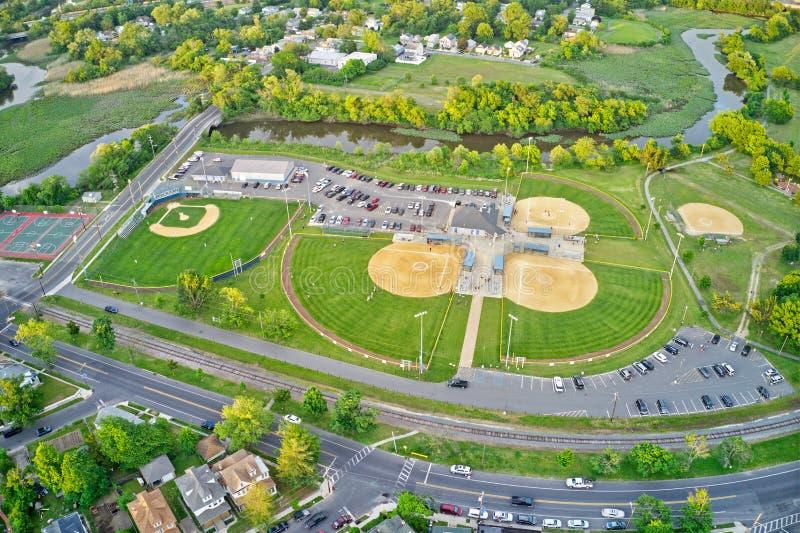 Satellietbeeld van de Gebieden van de Honkbalrecreatie stock foto
