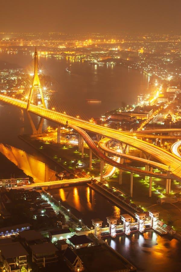Satellietbeeld van de Hangbruggen en de wegenuitwisseling van Bhumibol over Chao Phraya River bij schemer Samut Prakan, Thailand stock afbeelding