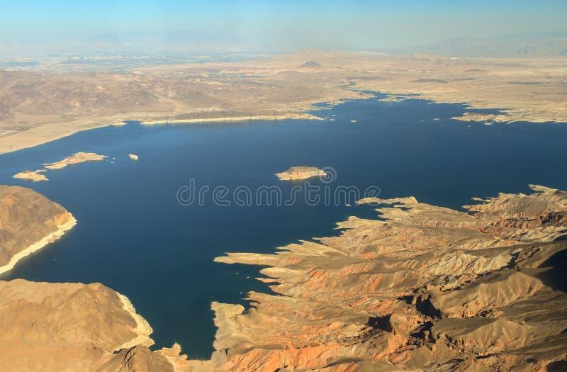 Satellietbeeld van de Hoover-Dam op de Rivier van Colorado stock afbeeldingen