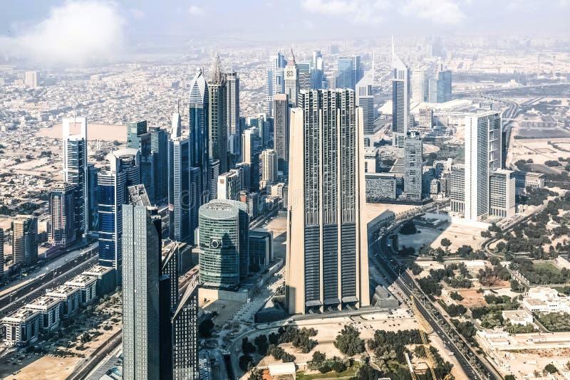 Satellietbeeld van de Horizon van Doubai, Verbazende Dakmening van Sheikh Zayed Road Residential en Bedrijfswolkenkrabbers, Douba stock foto
