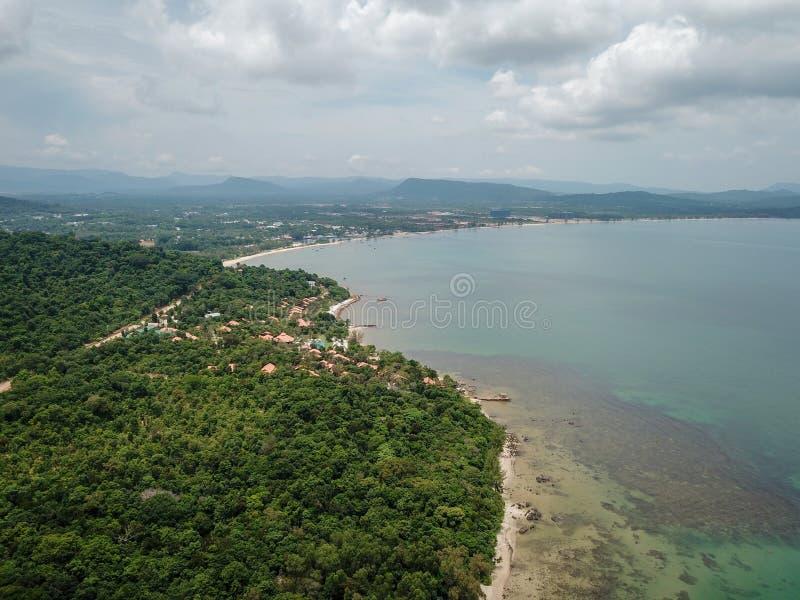 Satellietbeeld van de kustlijn van Phu Quoc royalty-vrije stock foto's