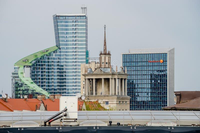 Satellietbeeld van de naoorlogs en huidige architectuur van Vilnius stock foto's