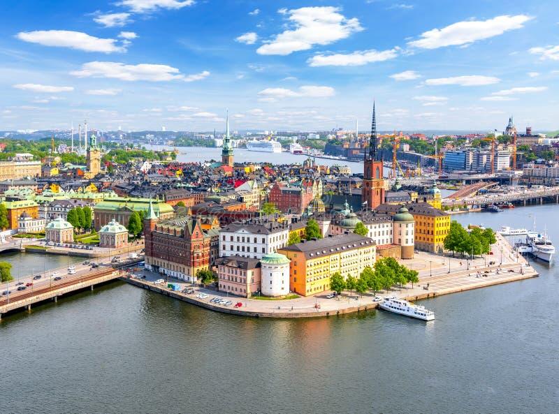 Satellietbeeld van de oude stad Gamla Stan van Stockholm vanaf Stadhuisbovenkant, Zweden royalty-vrije stock afbeelding