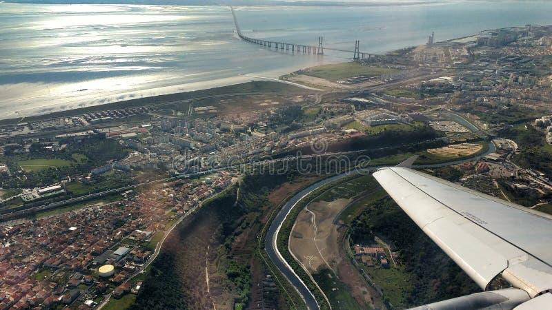 Satellietbeeld van de Rivier van Lissabon en Tagus- royalty-vrije stock foto's