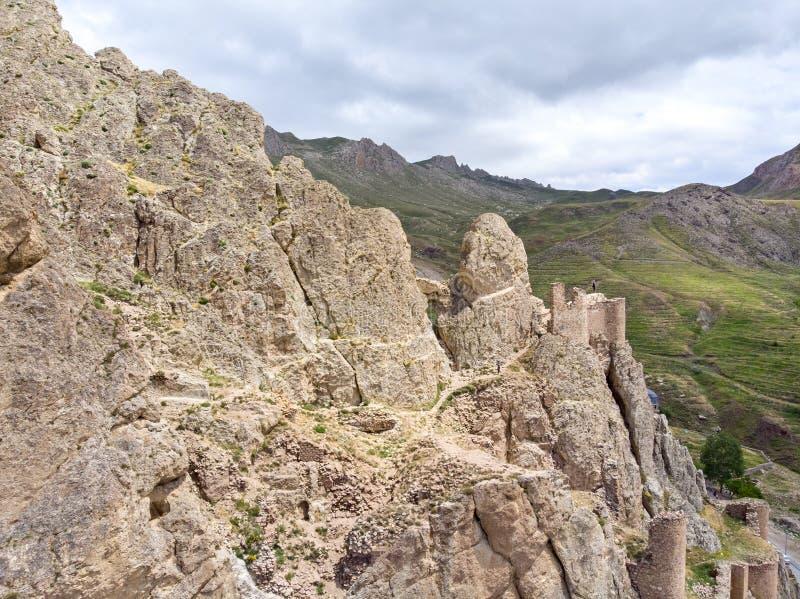 Satellietbeeld van de ruïnes van het Dogubayazit-kasteel, op de berg worden voortgebouwd die Oostelijk Turkije stock afbeeldingen