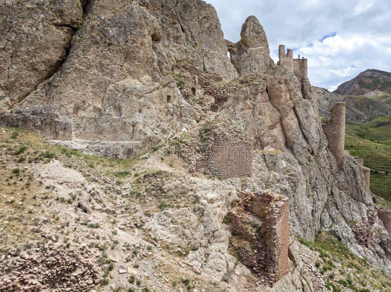 Satellietbeeld van de ruïnes van het Dogubayazit-kasteel, op de berg worden voortgebouwd die Oostelijk Turkije stock fotografie