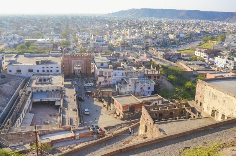 Satellietbeeld van de stad van Jaipur, Rajastan, India royalty-vrije stock foto's