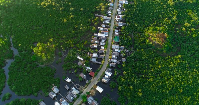Satellietbeeld van dorp en mangrovebos, rivier op het Siargao-eiland filippijnen stock afbeeldingen