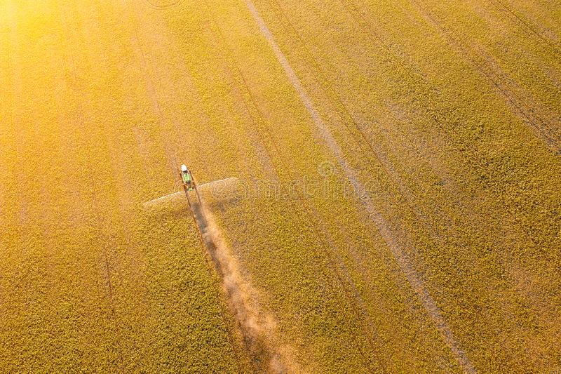 Satellietbeeld van een landbouwbedrijftractor op een geel gebied tijdens het bespuiten en voor het kweken van voedsel, groenten e stock afbeeldingen