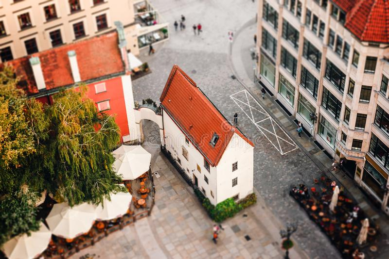 Satellietbeeld van een Marktvierkant in Wroclaw, Polen stock foto