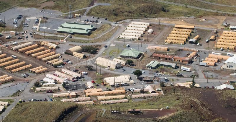 Satellietbeeld van een Militaire Basis op het Grote Eiland Hawaï stock foto