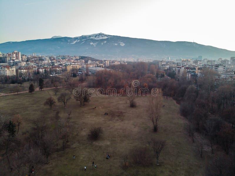 Satellietbeeld van een Park in Sofia, Bulgarije met Vitosha berg met Sneeuw in de winter royalty-vrije stock foto