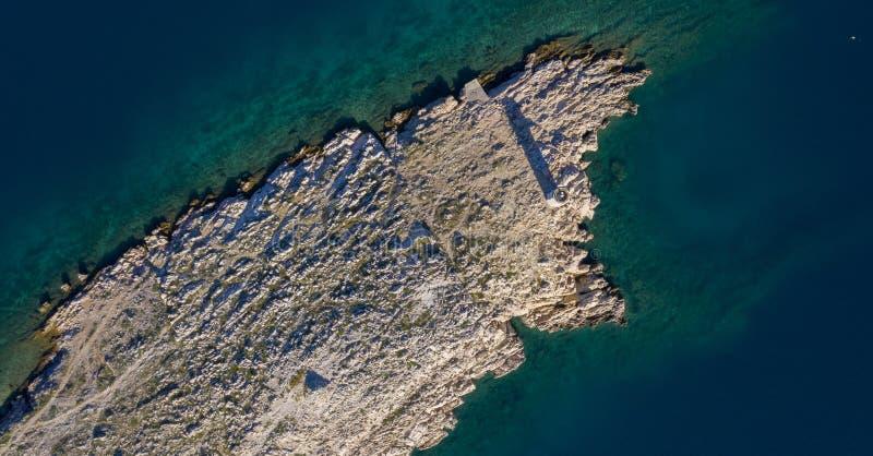 Satellietbeeld van eiland in Kroatië stock foto