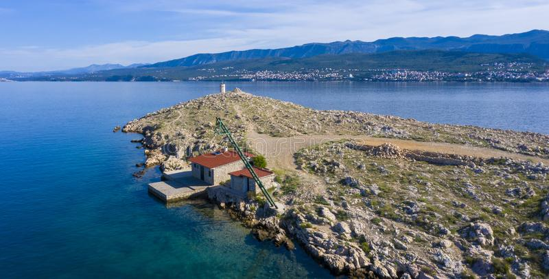 Satellietbeeld van eiland in Kroatië stock afbeelding