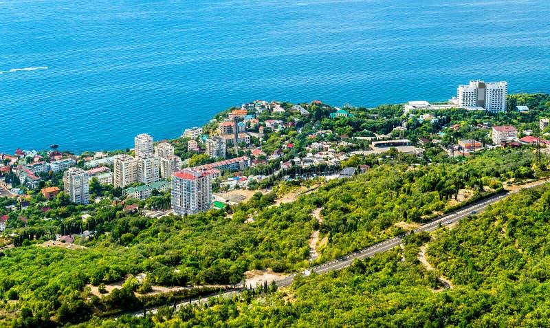 Satellietbeeld van Foros, een stad door de Zwarte Zee in de Krim royalty-vrije stock afbeelding