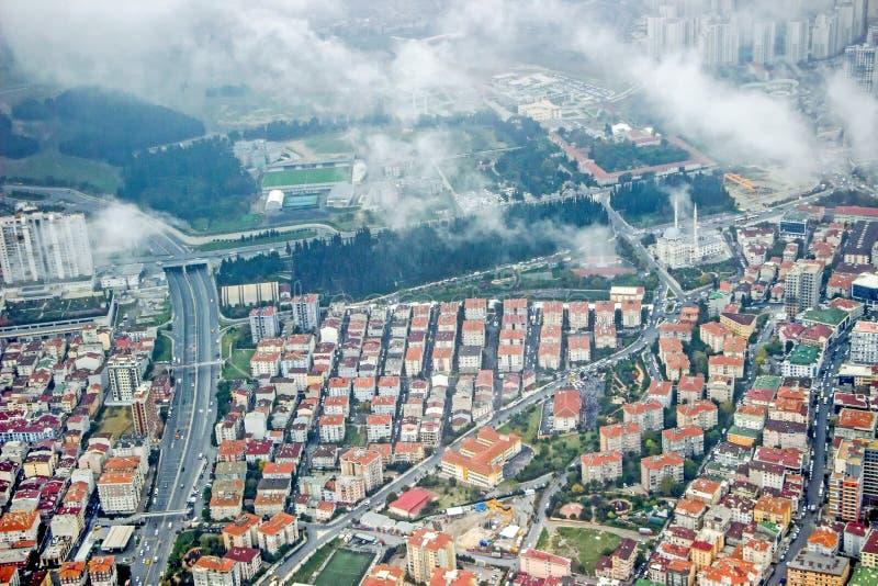 Satellietbeeld van gebouwen in Istanboel royalty-vrije stock foto's