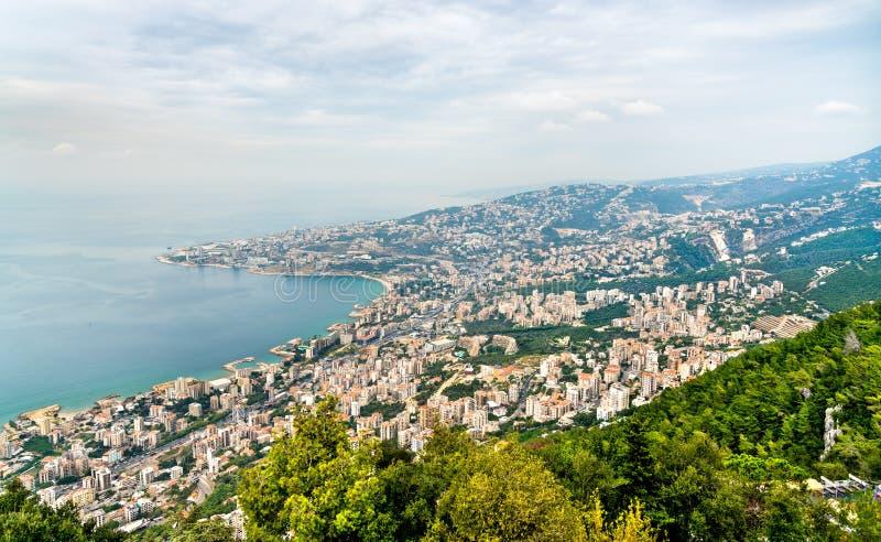 Satellietbeeld van Jounieh in Libanon stock foto's