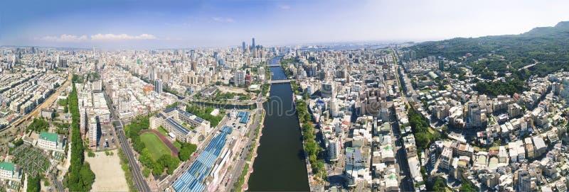 Satellietbeeld van kaohsiungstad en liefderivier taiwan royalty-vrije stock afbeeldingen