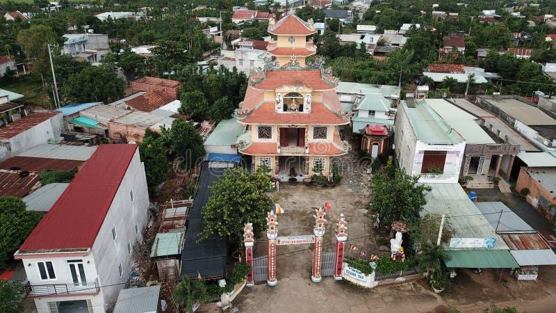 Satellietbeeld van Khanh Tan Pagoda stock foto