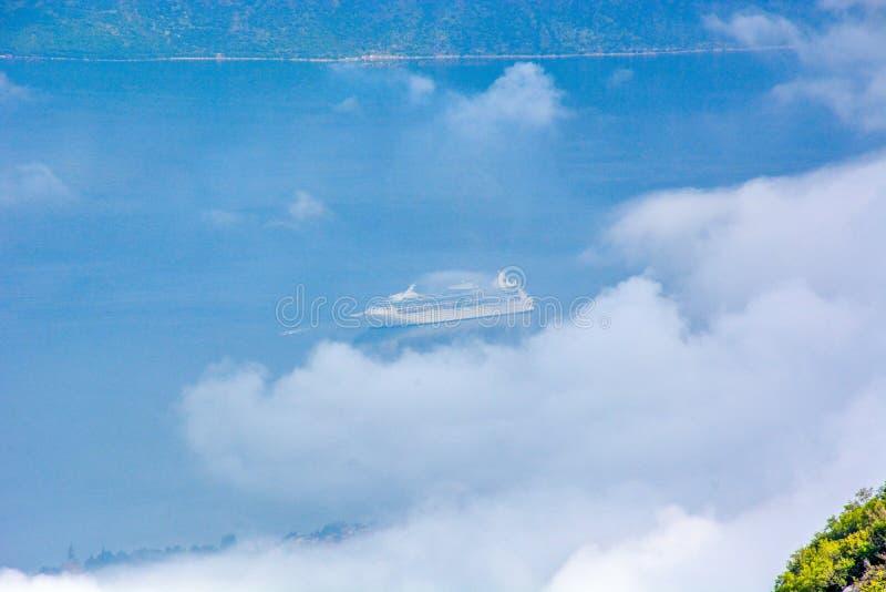 Satellietbeeld van Kotor, de Baai van Boka Kotorska, Montenegro royalty-vrije stock foto