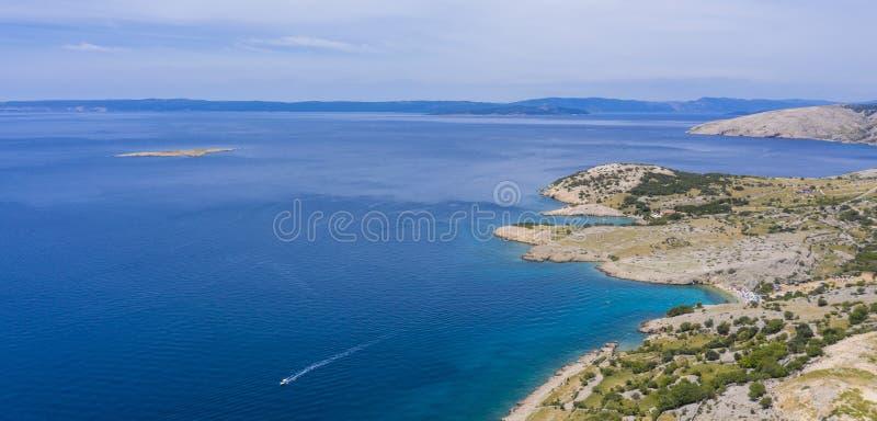 Satellietbeeld van kust in Kroatië stock afbeelding