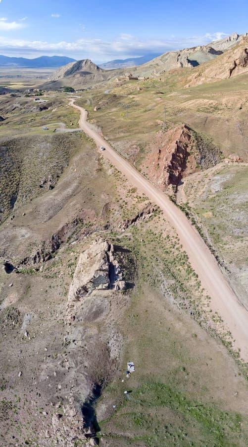 Satellietbeeld van landweggen op het plateau rond Onderstel Ararat, adembenemende landschappen, windende wegen Oostelijk Turkije royalty-vrije stock afbeeldingen