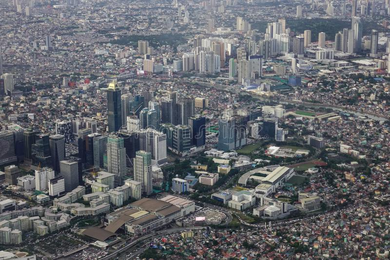 Satellietbeeld van Manilla met wolkenkrabbers royalty-vrije stock afbeelding