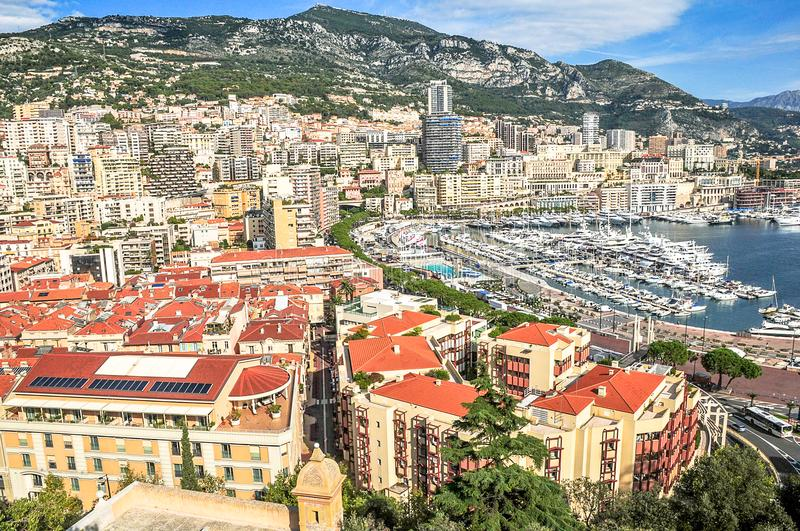 Satellietbeeld van Monte Carlo stock foto's