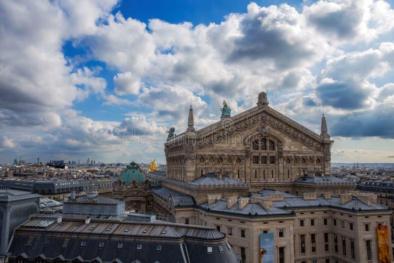 Satellietbeeld van Opera van Galeries Lafayette-terras in Parijs, Frankrijk stock fotografie