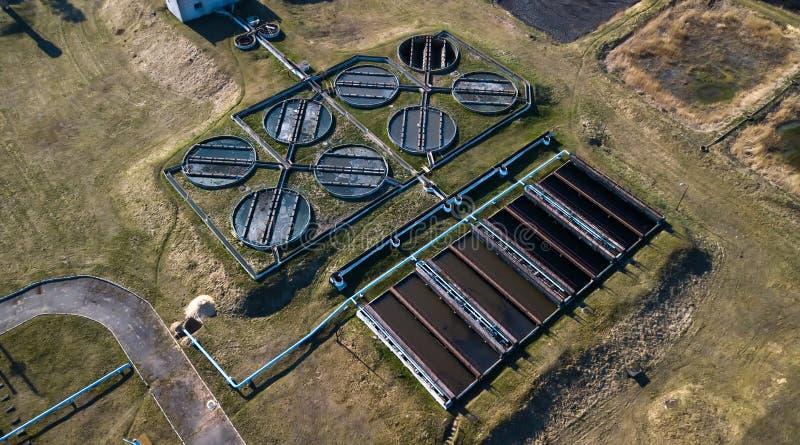 Satellietbeeld van Opole-de installatie van de stadsbehandeling van afvalwater royalty-vrije stock foto's