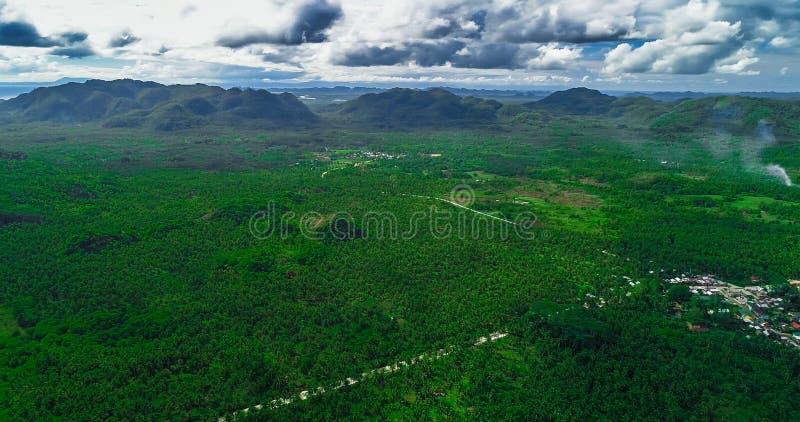 Satellietbeeld van palmenbos, weg en berg op het Siargao-eiland filippijnen stock foto