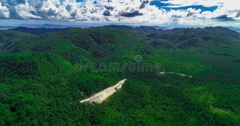 Satellietbeeld van palmenbos, weg en berg op het Siargao-eiland filippijnen royalty-vrije stock foto