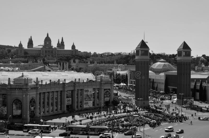 Satellietbeeld van Plaza DE Espanya Square, Barcelona, Catalonië, Spanje Rebecca 36 royalty-vrije stock foto